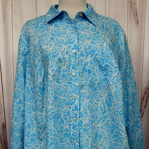 Talbots Print Button Front Long Sleeve Blouse 1X